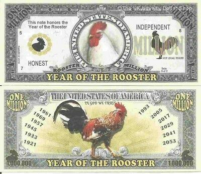 Year Of The Rooster Honest Independent Million Dollar Bills x 2 Chinese Zodiac