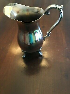 Vintage English Silver Plate On Copper Water Pitcher Jug With Ice Lip Claw Feet