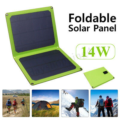 USB 5V 14W Portable Solar Panel Foldable Outdoor Camping Charging For Cell Phone