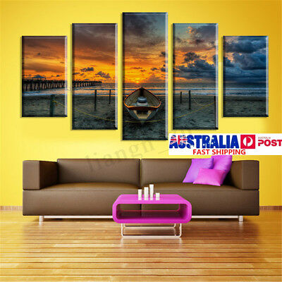 5Pcs Sea Sunset Canvas Print Painting Home Living Room Wall Art Decor Unframed