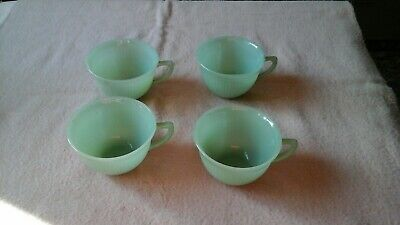 Vintage Fire King Jadeite Jane Ray Pattern Cups  Lot Of 4 No Saucers   (a)