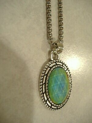"""Antique Silver Pendant 24"""" Box Chain / Faceted Mood Stone Necklace"""