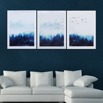 Nordic Misty Foggy Forest Poster Landscape Home Decor Art Canvas Poster Painting