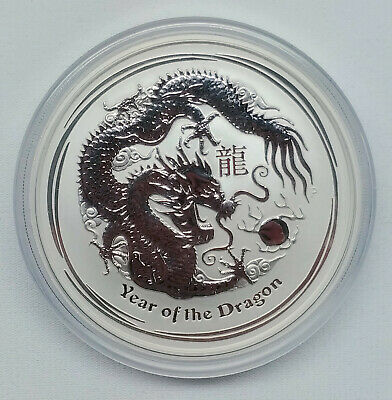 2012 Australia Year of The Dragon 5 oz Silver 999 Coin In Capsule $8 Dollars