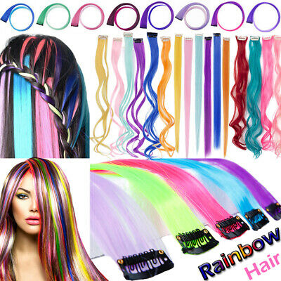 US Post Rainbow Pink Blue Purple Clip In 10 Pieces Hair Extensions real Natural