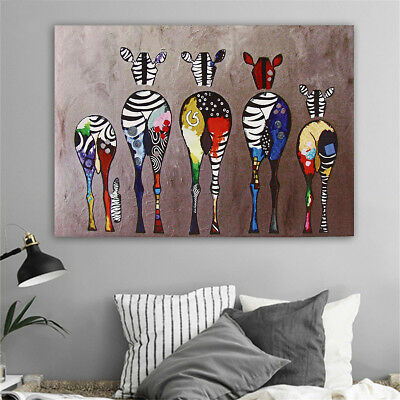 Colorful Animals Zebra Art Canvas Oil Painting Picture Print Home Decor Unframed