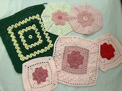 Handmade Crochet Pieces for Crafts Cutters Floral Pink