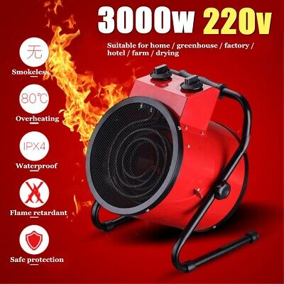 220V 3000W Electric Industrial Fan Heater Air Blower Workshop Floor Carpet Dryer