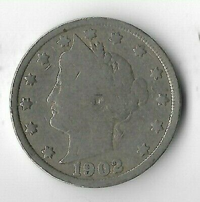Rare Very Old Antique 1902 US Liberty V Nickel Collection Coin USA 5 Cent Money