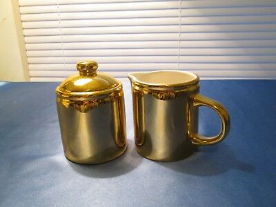 Beautiful GOLD COLORED Creamer and Sugar w/Lid manuf unknown