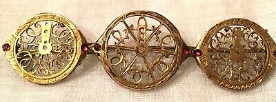 Antique Watch Fusee Ruby Gold Gilt Brass Brooch Gilt Balance Parts Pin 1800s Vtg