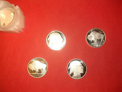 Lot of 4 Liberty Indian Head Buffalo/Bison USA 1 troy oz .999 Rounds