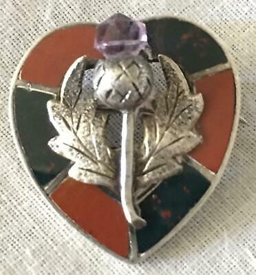 Antique Scottish Agate Amethyst Sterling Silver Thistle Brooch Heart Pin JC& S