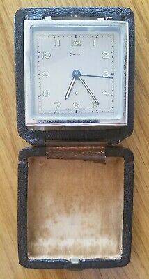 Swiza Swiss Made Vintage 8 day travel alarm Clock Leather Case 7 jewels Working