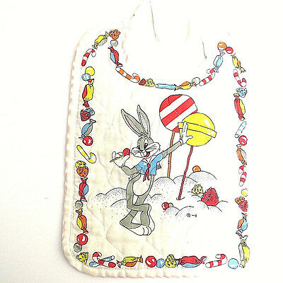Vintage Bugs Bunny Cloth Baby BIB Reversible Red Polka Dots Warner Brothers