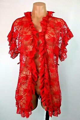 Frederick's Of Hollywood Red Lace Ruffle Coverup Kimono Sexy Robe OSFA VTG 90s