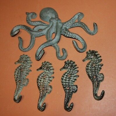(5) Octopus Seahorse Wall Hook Set Heavy Cast Iron Antiqued Look Finish,5 pieces