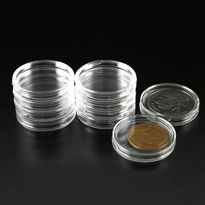 100Pcs 30mm Applied Clear Round Cases Coin Storage Boxes Capsules Clear US R2G8S