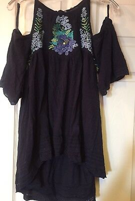 01433182e0962 FREE PEOPLE WOMENS FAST TIMES EMBROIDERED COLD SHOULDER TOP NWOT Navy Blue  Med
