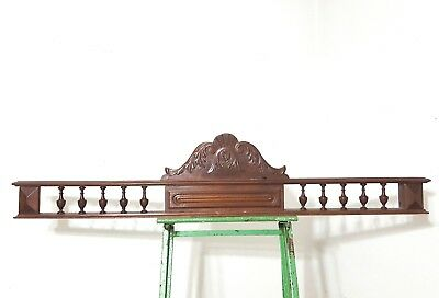 Architectural spindles scroll leaves pediment Antique carved wood salvaged crest