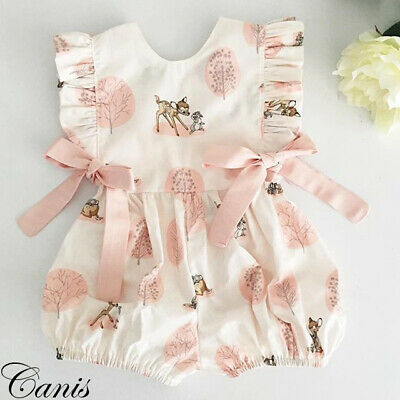 Fashion Sweet Newborn Baby Girl Deer Romper Bodysuit Jumpsuit Clothes Outfits UK