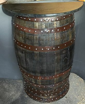 Recycled Rustic Solid Oak Half Whisky Barrel Bar Poseur Table   Pub Table