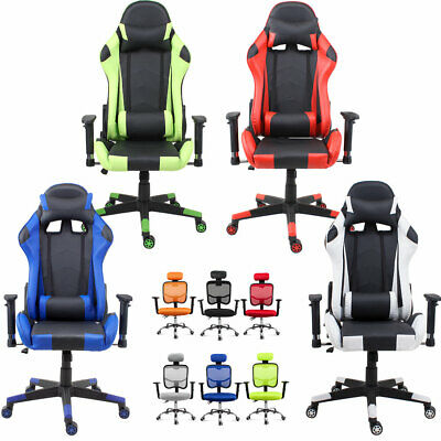 Gaming Racing Chair Office Computer Desk Adjustable Swivel Recliner Leather/Mesh