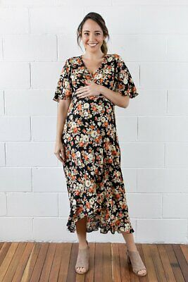 Maive & Bo Maternity Nursing Harlow Floral Wrap Dress S 10 M 12 L 14 Breastfeed