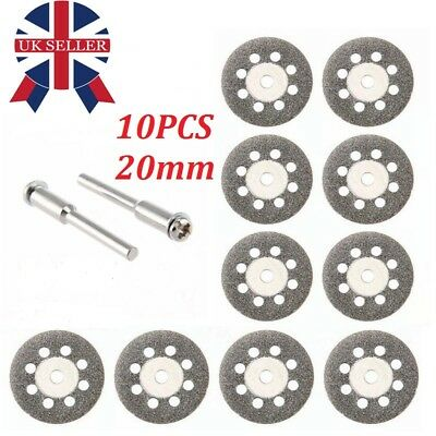 10 mini Diamond Cutting Discs Wheel Blades Set+Drill Bit For Dremel Rotary tool
