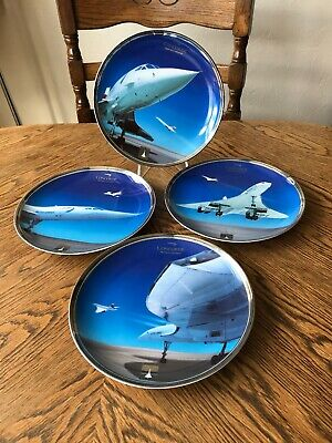 Set Of 4 Davenport Concorde Supersonic Era Plates Vintage China Limited Edition