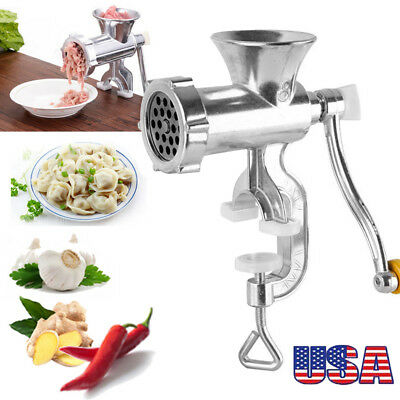 Hand Operated Manual Meat Grinder Sausage Beef Mincer Table Kitchen Silver USDTW