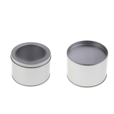 Silver Round Aluminum Metal Tin Storage Jars Container Metal Lid / Clear Top