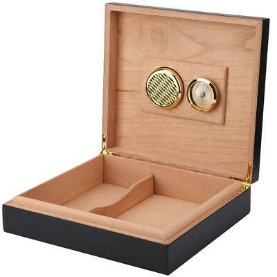 Black Cedar Wood Wooden Lined Cigar Humidor Humidifier + Hygrometer Case Box