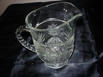 Vintage Small Cut Glass Pitcher Creamer with Floral Starburst Design