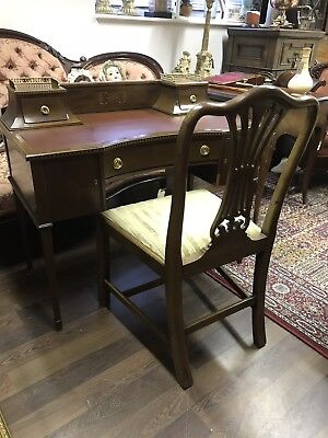 Edwardian Inlaid Mahogany Writing Desk. Serpentine Front. Open To Offers.