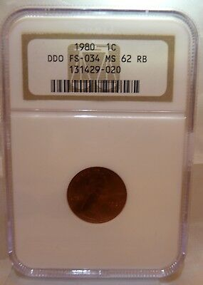 1980 Lincoln Penny Cent NGC Certified DDO FS-034 MS62 RB FREE SHIPPING !!