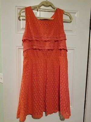 Pinky Dress Coral Pink Lace Overlay Crochet Sleeveless Size Large