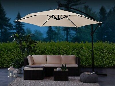 Garden LED Solar Parasol 3M Banana Patio Sun Umbrella Cantilever Canopy Cover
