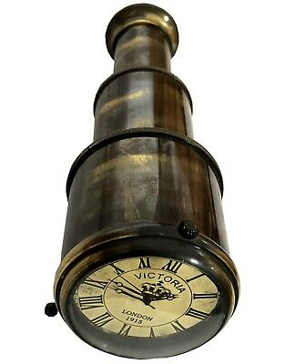 Brass Antique Victoria London Telescope Shape Miniature Desk Table Clock WC 041