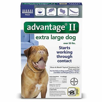 Bayer Advantage II Flea Treatment for Extra Large Dogs Over 55 lbs - 6 Doses