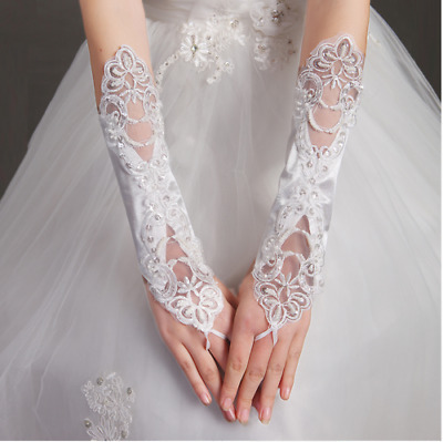 Fingerless Satin and Lace Wedding Gloves in White,Ivory, Black