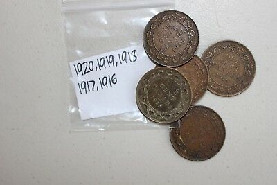1916-1920 Copper Canadian Large Cent One Cent Coins Lot of 5 FIVE Canada 1c