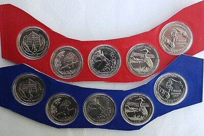 2015 P and D America the Beautiful BU Quarters 10 UNC ATB Coin Set Blister Pack