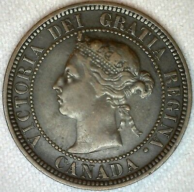 1888 Canada Large Cent One Cent Coin 1c Canadian VF Very Fine K340