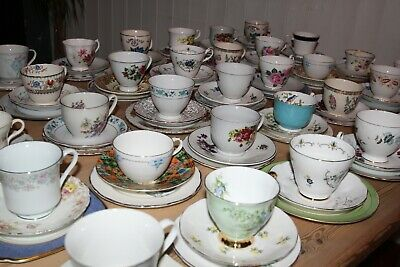 Mis-Matched Bone China Wedding Tea Party Vintage Parties Antique Tearoom Job Lot