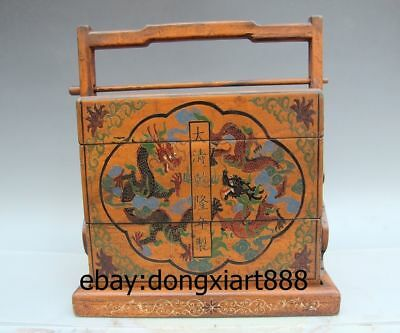 "15"" China Handwork Wood Painted Luck Dragon Phoenix Dinner lunch Box wooden Case"