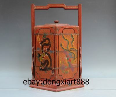 "24"" Chinese Handwork Wood Painted Lucky Dragon Phoenix lunch Box wooden Case"