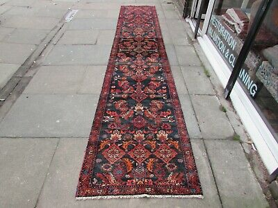 Old Traditional Hand Made Persian Rugs Oriental Wool Blue Long Runner 433x86cm
