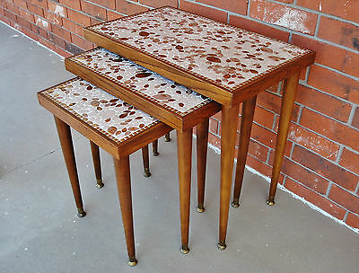 RARE Ca. 1950 Trio Mid-Century Modern Leaves Motive Mosaic Tile Nesting Tables