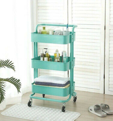 33259a76a3e 3-Tier Metal Rolling Utility Cart Kitchen Heavy Duty Mobile Storage  Organizer US